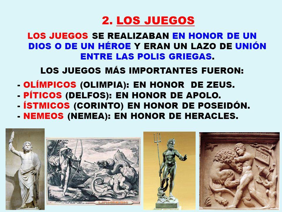 2. LOS JUEGOS LOS JUEGOS SE REALIZABAN EN HONOR DE UN DIOS O DE UN HÉROE Y ERAN UN LAZO DE UNIÓN ENTRE LAS POLIS GRIEGAS. LOS JUEGOS MÁS IMPORTANTES F