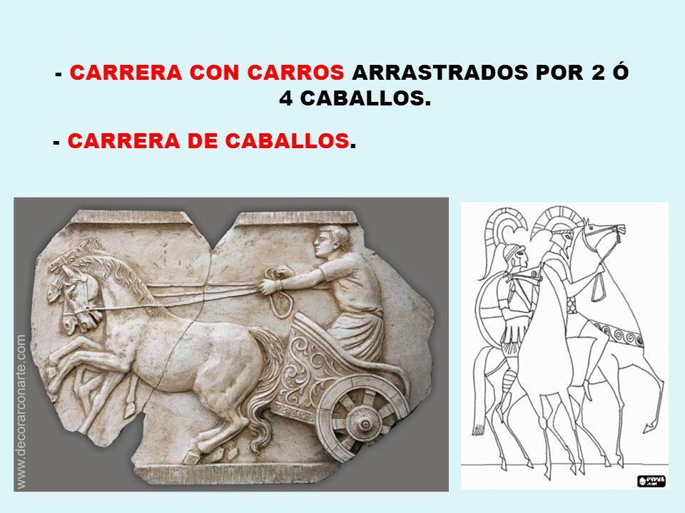 - CARRERA CON CARROS ARRASTRADOS POR 2 Ó 4 CABALLOS. - CARRERA DE CABALLOS.