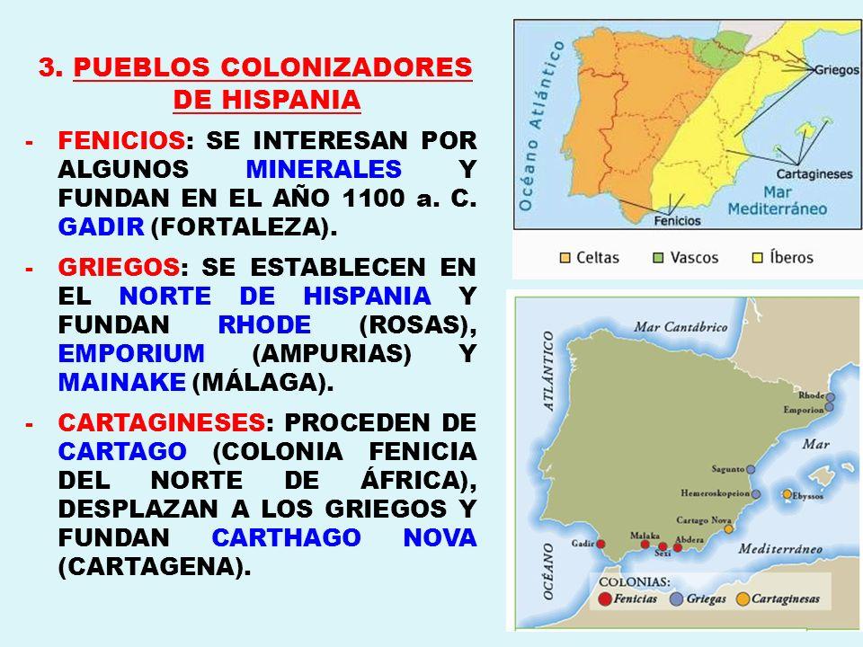 3. PUEBLOS COLONIZADORES DE HISPANIA -FENICIOS: SE INTERESAN POR ALGUNOS MINERALES Y FUNDAN EN EL AÑO 1100 a. C. GADIR (FORTALEZA). -GRIEGOS: SE ESTAB