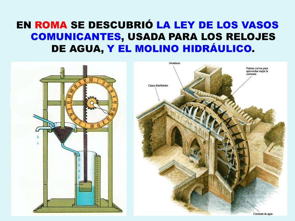 EN ROMA SE DESCUBRIÓ LA LEY DE LOS VASOS COMUNICANTES, USADA PARA LOS RELOJES DE AGUA, Y EL MOLINO HIDRÁULICO.