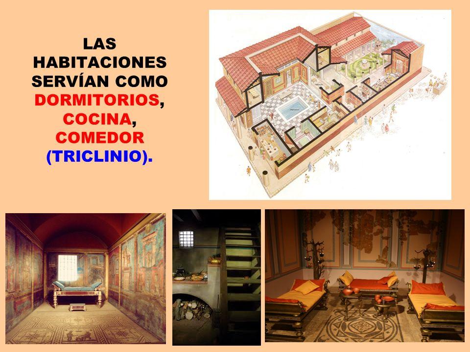 LAS HABITACIONES SERVÍAN COMO DORMITORIOS, COCINA, COMEDOR (TRICLINIO).