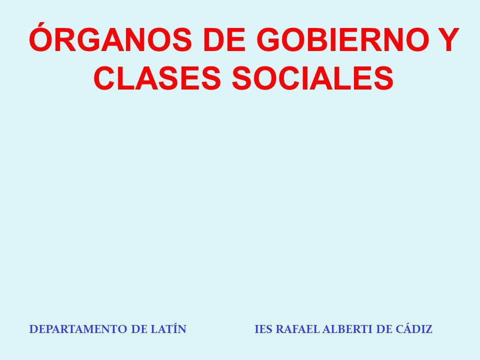 DEPARTAMENTO DE LATÍN IES RAFAEL ALBERTI DE CÁDIZ ÓRGANOS DE GOBIERNO Y CLASES SOCIALES