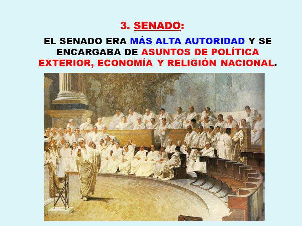 3. SENADO: EL SENADO ERA MÁS ALTA AUTORIDAD Y SE ENCARGABA DE ASUNTOS DE POLÍTICA EXTERIOR, ECONOMÍA Y RELIGIÓN NACIONAL.