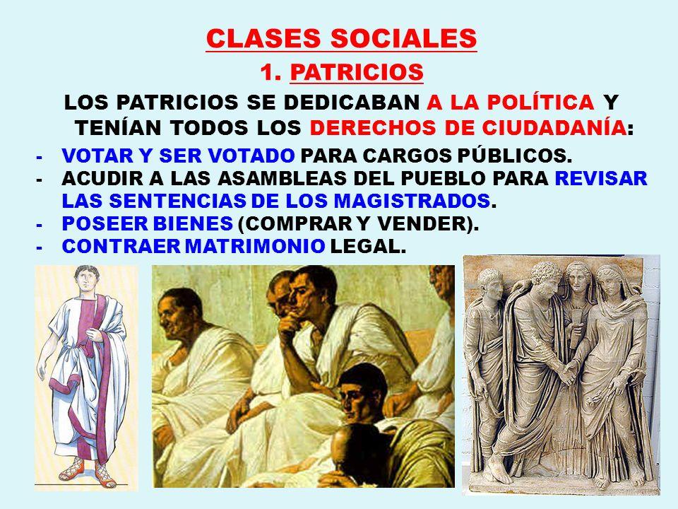 CLASES SOCIALES 1. PATRICIOS LOS PATRICIOS SE DEDICABAN A LA POLÍTICA Y TENÍAN TODOS LOS DERECHOS DE CIUDADANÍA: -VOTAR Y SER VOTADO PARA CARGOS PÚBLI