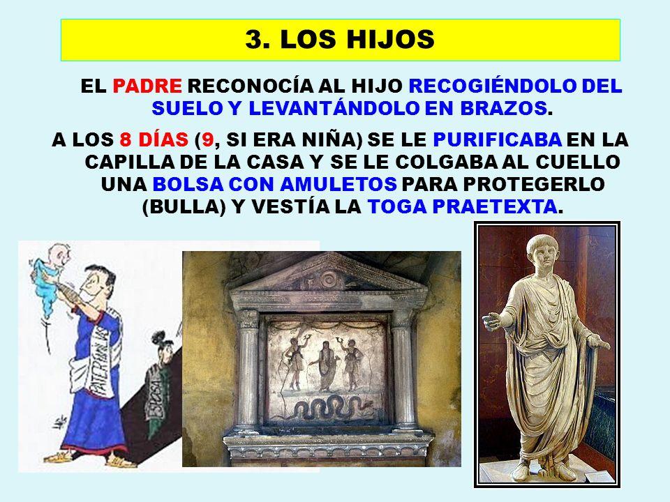 EL PADRE RECONOCÍA AL HIJO RECOGIÉNDOLO DEL SUELO Y LEVANTÁNDOLO EN BRAZOS. A LOS 8 DÍAS (9, SI ERA NIÑA) SE LE PURIFICABA EN LA CAPILLA DE LA CASA Y