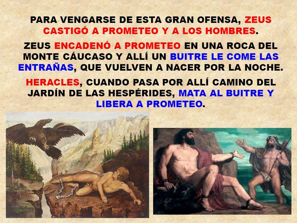 ZEUS ENVIÓ A LOS HOMBRES UN CASTIGO: UNA MUJER DE ARCILLA LLAMADA PANDORA (TODOS LOS REGALOS), HECHA POR HEFESTO.
