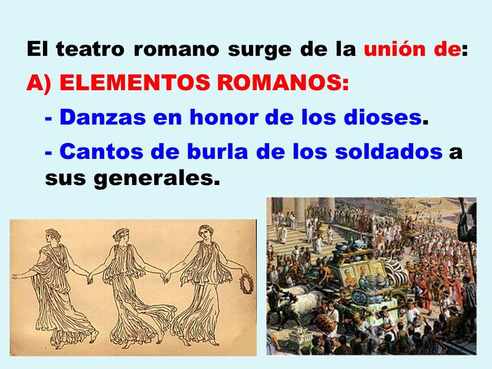 El teatro romano surge de la unión de: A) ELEMENTOS ROMANOS: - Danzas en honor de los dioses. - Cantos de burla de los soldados a sus generales.