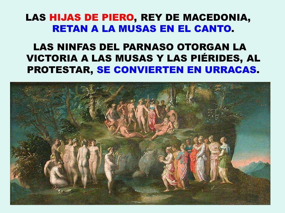 LAS HIJAS DE PIERO, REY DE MACEDONIA, RETAN A LA MUSAS EN EL CANTO. LAS NINFAS DEL PARNASO OTORGAN LA VICTORIA A LAS MUSAS Y LAS PIÉRIDES, AL PROTESTA
