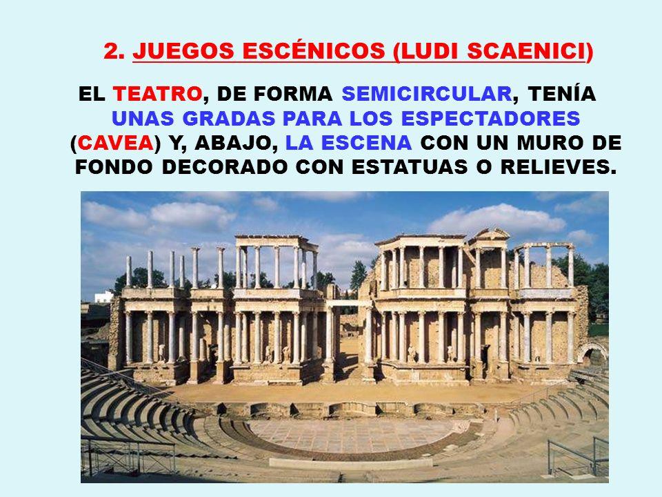 2. JUEGOS ESCÉNICOS (LUDI SCAENICI) EL TEATRO, DE FORMA SEMICIRCULAR, TENÍA UNAS GRADAS PARA LOS ESPECTADORES (CAVEA) Y, ABAJO, LA ESCENA CON UN MURO