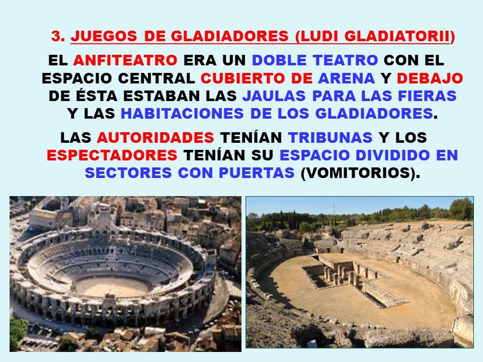 ESPECTÁCULOS DEL ANFITEATRO: 1)LUCHAS DE GLADIADORES DE DIFERENTES TIPOS, SEGÚN LAS ARMAS CON LAS QUE LUCHABAN, QUE PRONUNCIABAN: SALVE, CAESAR, MORITURI TE SALUTANT.
