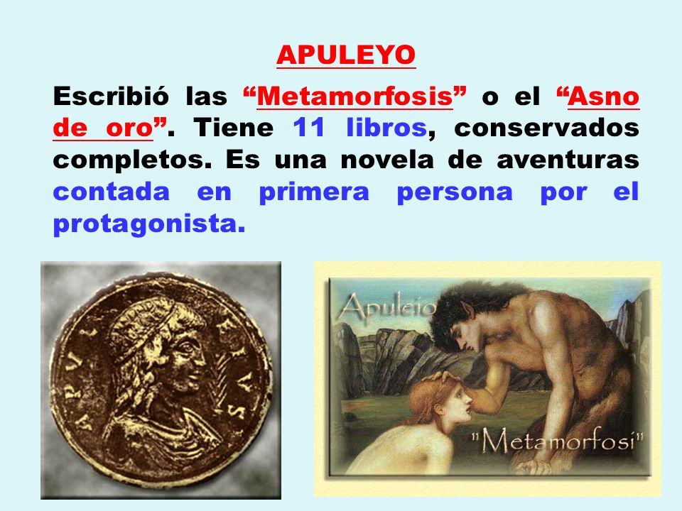 APULEYO Escribió las Metamorfosis o el Asno de oro. Tiene 11 libros, conservados completos. Es una novela de aventuras contada en primera persona por
