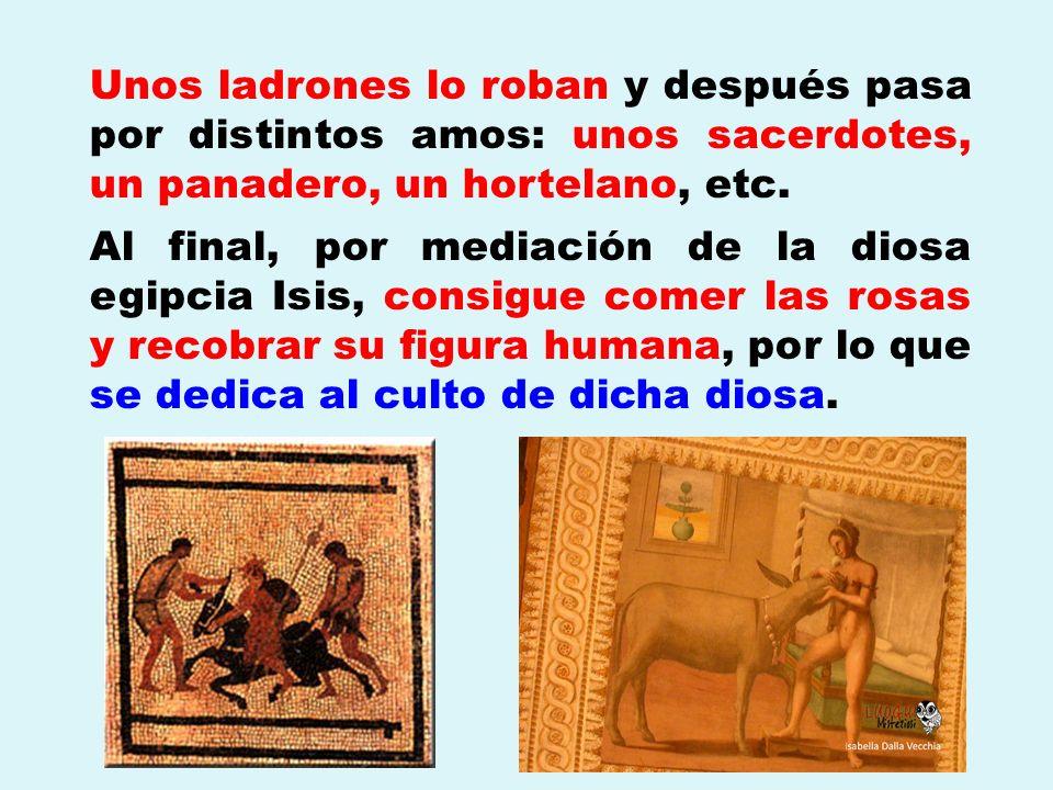 Unos ladrones lo roban y después pasa por distintos amos: unos sacerdotes, un panadero, un hortelano, etc. Al final, por mediación de la diosa egipcia