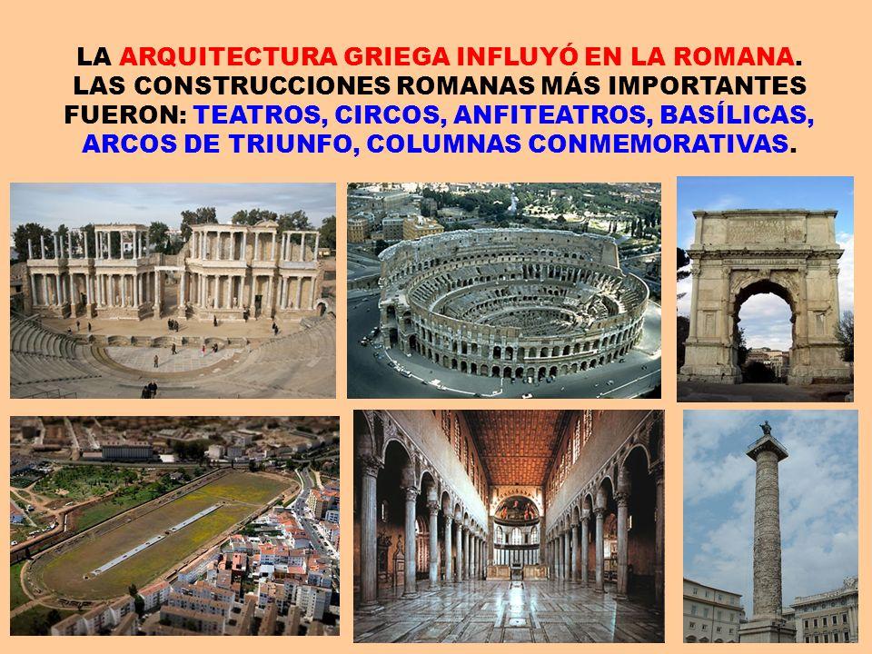 LA ARQUITECTURA GRIEGA INFLUYÓ EN LA ROMANA. LAS CONSTRUCCIONES ROMANAS MÁS IMPORTANTES FUERON: TEATROS, CIRCOS, ANFITEATROS, BASÍLICAS, ARCOS DE TRIU