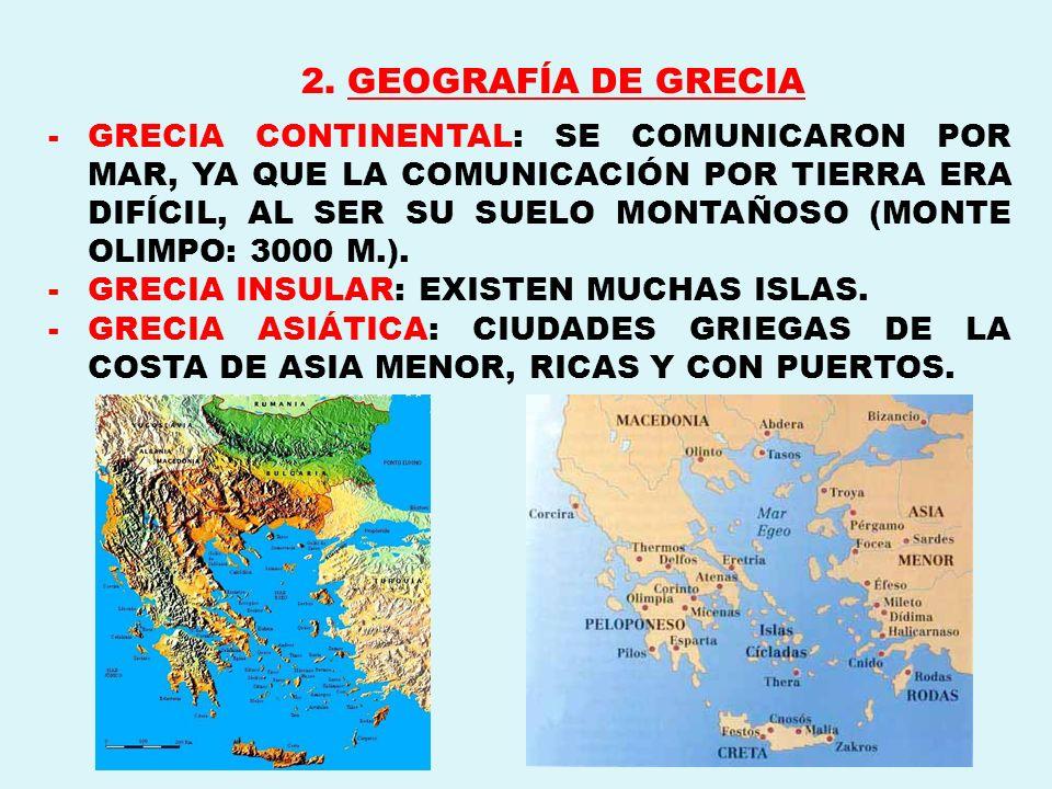 2. GEOGRAFÍA DE GRECIA -GRECIA CONTINENTAL: SE COMUNICARON POR MAR, YA QUE LA COMUNICACIÓN POR TIERRA ERA DIFÍCIL, AL SER SU SUELO MONTAÑOSO (MONTE OL