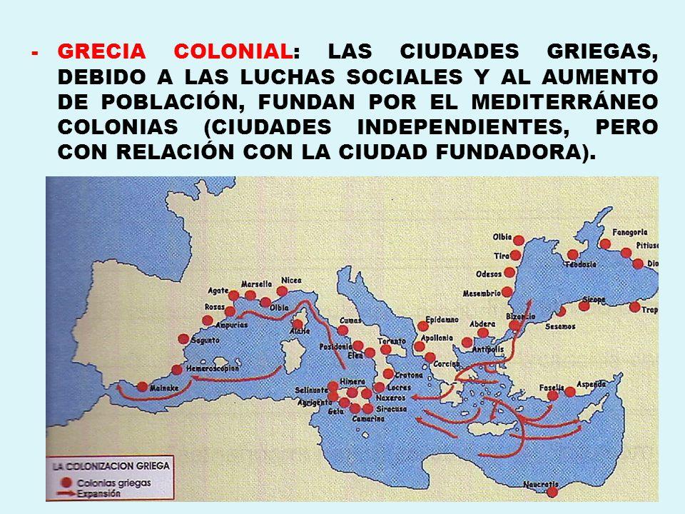 -GRECIA COLONIAL: LAS CIUDADES GRIEGAS, DEBIDO A LAS LUCHAS SOCIALES Y AL AUMENTO DE POBLACIÓN, FUNDAN POR EL MEDITERRÁNEO COLONIAS (CIUDADES INDEPEND