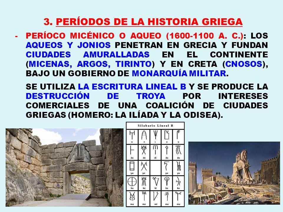 3. PERÍODOS DE LA HISTORIA GRIEGA -PERÍOCO MICÉNICO O AQUEO (1600-1100 A. C.): LOS AQUEOS Y JONIOS PENETRAN EN GRECIA Y FUNDAN CIUDADES AMURALLADAS EN