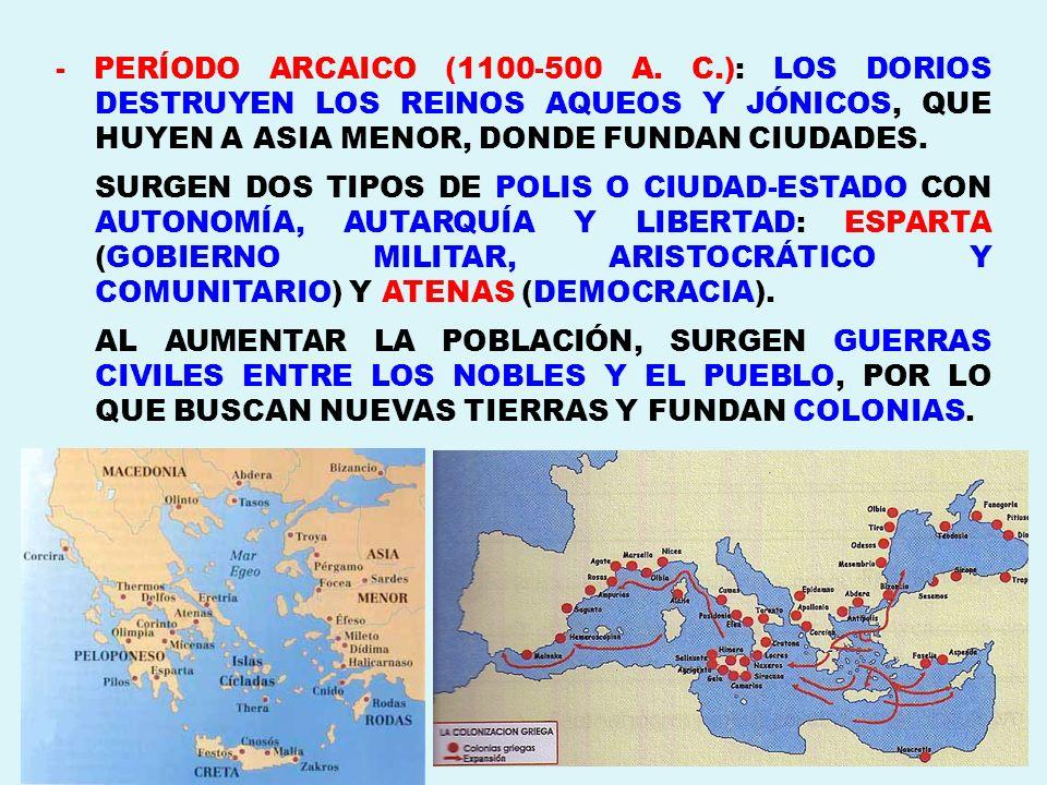- PERÍODO ARCAICO (1100-500 A. C.): LOS DORIOS DESTRUYEN LOS REINOS AQUEOS Y JÓNICOS, QUE HUYEN A ASIA MENOR, DONDE FUNDAN CIUDADES. SURGEN DOS TIPOS