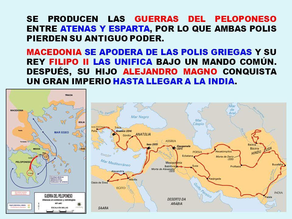 SE PRODUCEN LAS GUERRAS DEL PELOPONESO ENTRE ATENAS Y ESPARTA, POR LO QUE AMBAS POLIS PIERDEN SU ANTIGUO PODER. MACEDONIA SE APODERA DE LAS POLIS GRIE