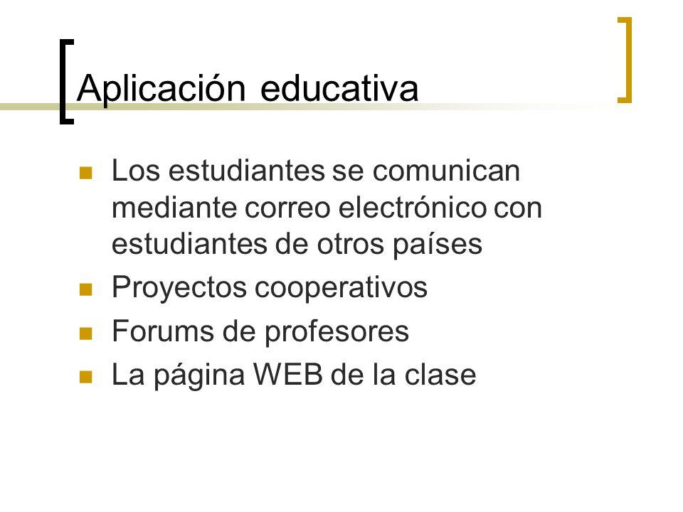 Aplicación educativa Los estudiantes se comunican mediante correo electrónico con estudiantes de otros países Proyectos cooperativos Forums de profesores La página WEB de la clase