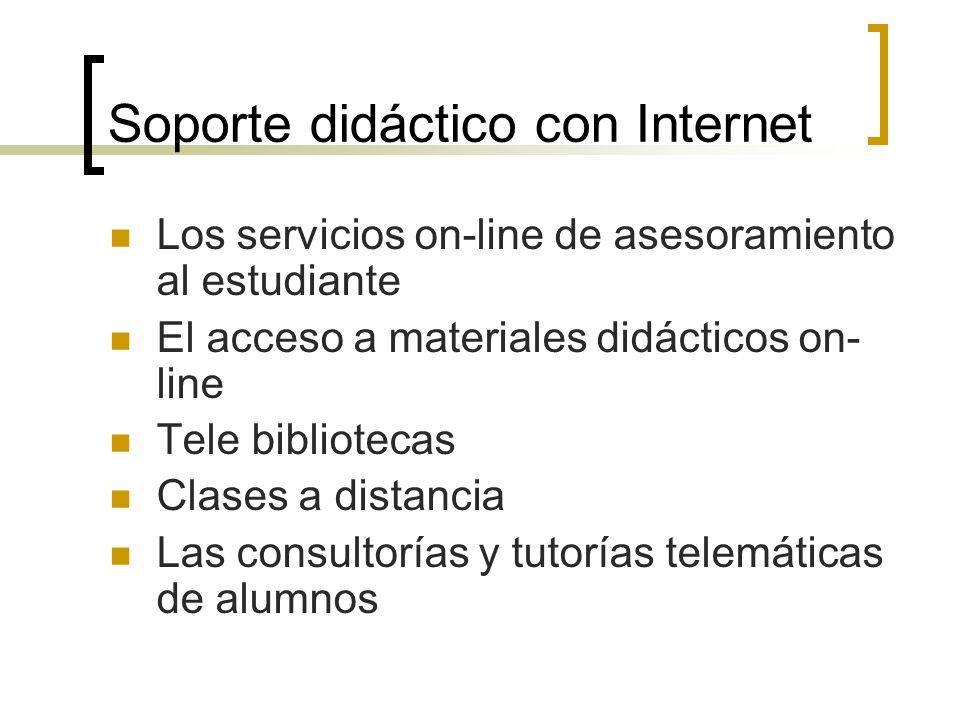 Soporte didáctico con Internet Los servicios on-line de asesoramiento al estudiante El acceso a materiales didácticos on- line Tele bibliotecas Clases