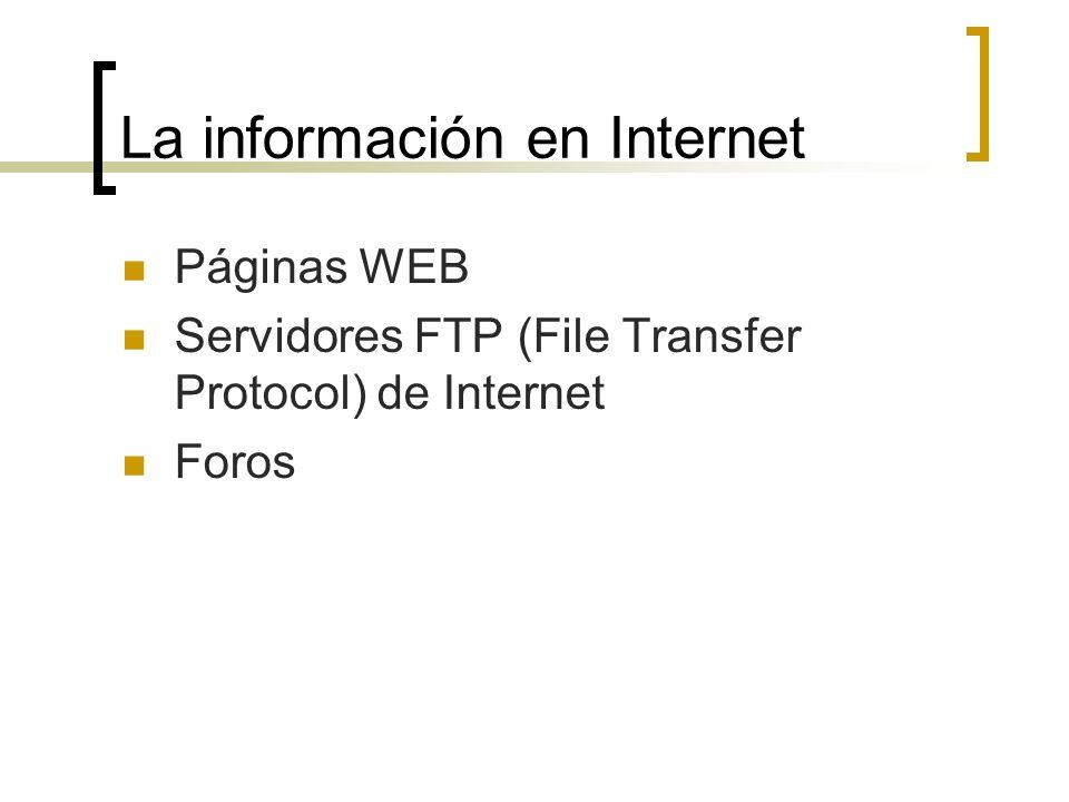 La información en Internet Páginas WEB Servidores FTP (File Transfer Protocol) de Internet Foros