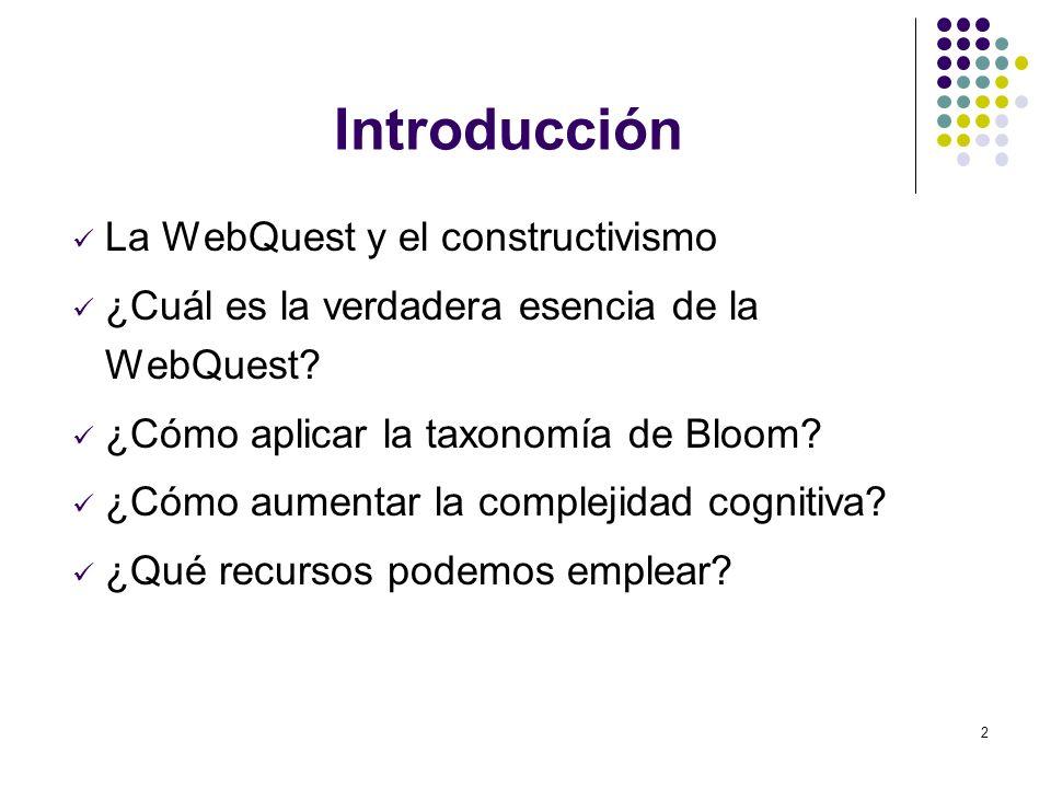 2 Introducción La WebQuest y el constructivismo ¿Cuál es la verdadera esencia de la WebQuest? ¿Cómo aplicar la taxonomía de Bloom? ¿Cómo aumentar la c