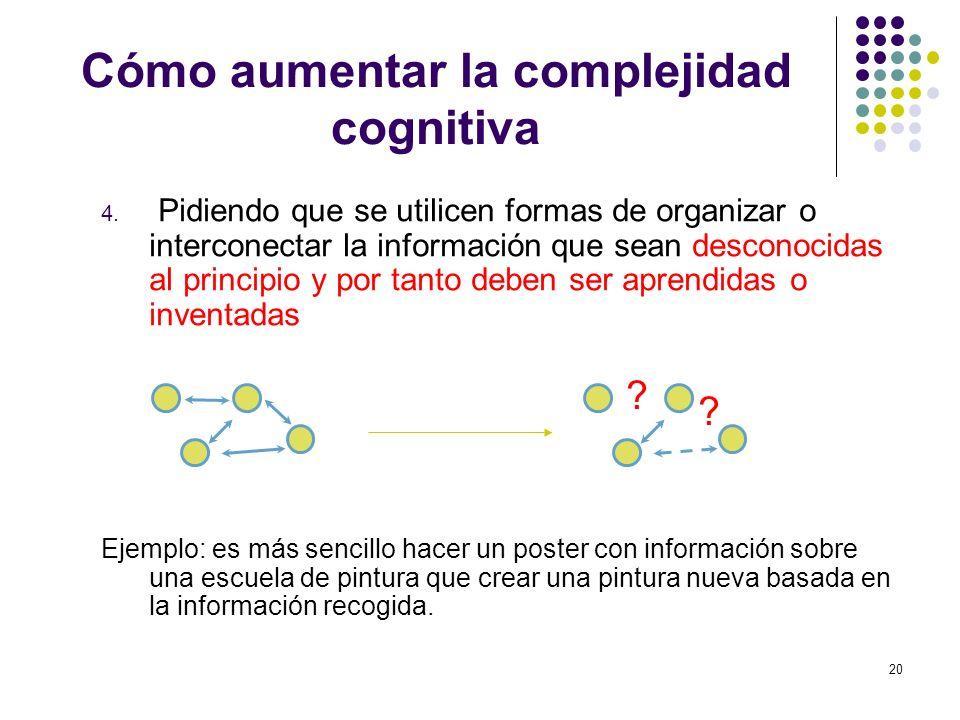20 Cómo aumentar la complejidad cognitiva 4. Pidiendo que se utilicen formas de organizar o interconectar la información que sean desconocidas al prin