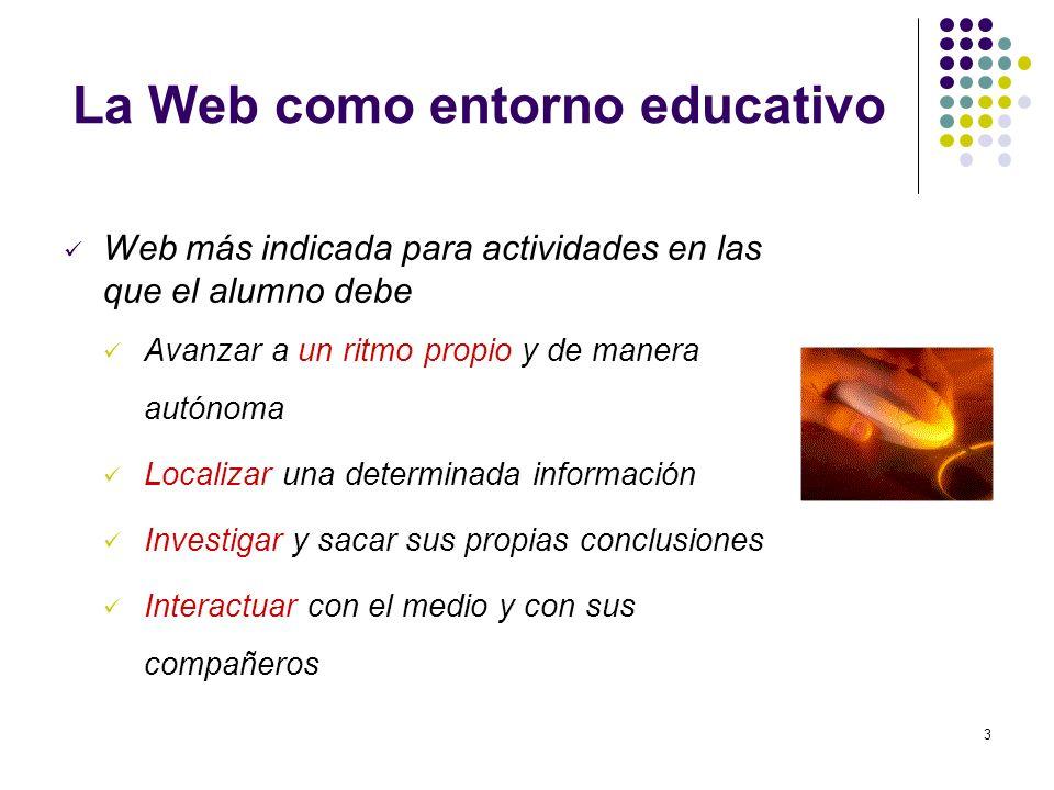 3 La Web como entorno educativo Web más indicada para actividades en las que el alumno debe Avanzar a un ritmo propio y de manera autónoma Localizar u