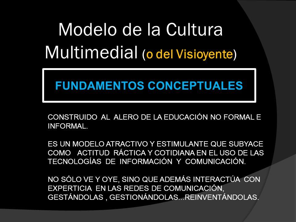 Modelo de la Cultura Multimedial (o del Visioyente) FUNDAMENTOS CONCEPTUALES CONSTRUIDO AL ALERO DE LA EDUCACIÓN NO FORMAL E INFORMAL.