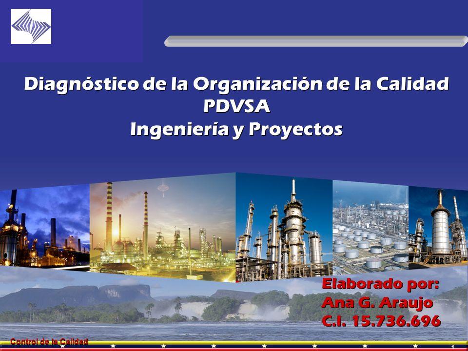 1 Control de la Calidad Diagnóstico de la Organización de la Calidad PDVSA Ingeniería y Proyectos Diagnóstico de la Organización de la Calidad PDVSA I