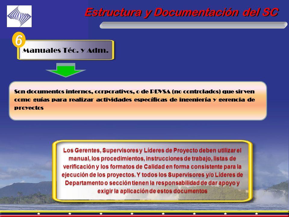 Estructura y Documentación del SC Son documentos internos, corporativos, o de PDVSA (no controlados) que sirven como guías para realizar actividades e