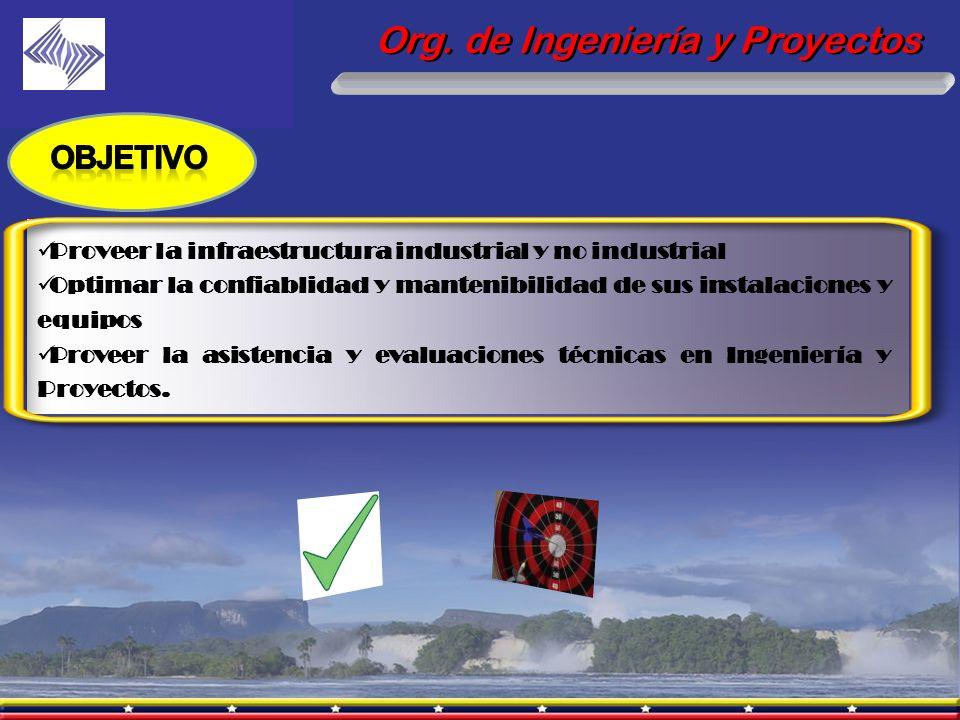 Org. de Ingeniería y Proyectos Proveer la infraestructura industrial y no industrial Optimar la confiablidad y mantenibilidad de sus instalaciones y e