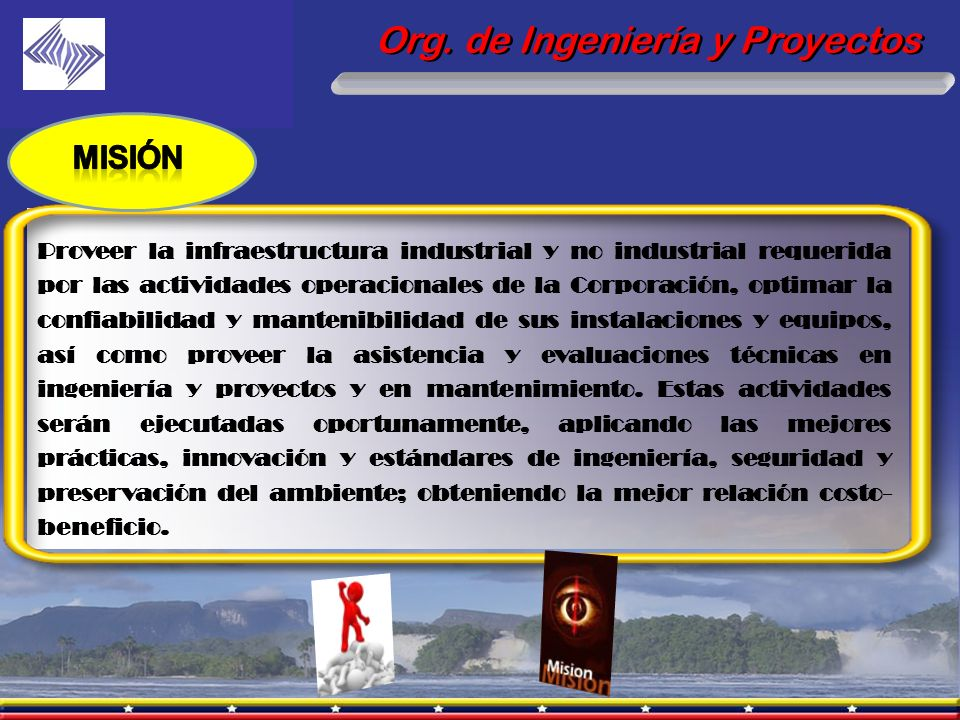 Org. de Ingeniería y Proyectos Proveer la infraestructura industrial y no industrial requerida por las actividades operacionales de la Corporación, op