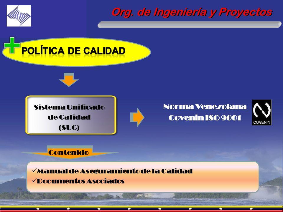 Sistema Unificado de Calidad (SUC) Norma Venezolana Covenin ISO 9001 Org. de Ingeniería y Proyectos Contenido Manual de Aseguramiento de la Calidad Do