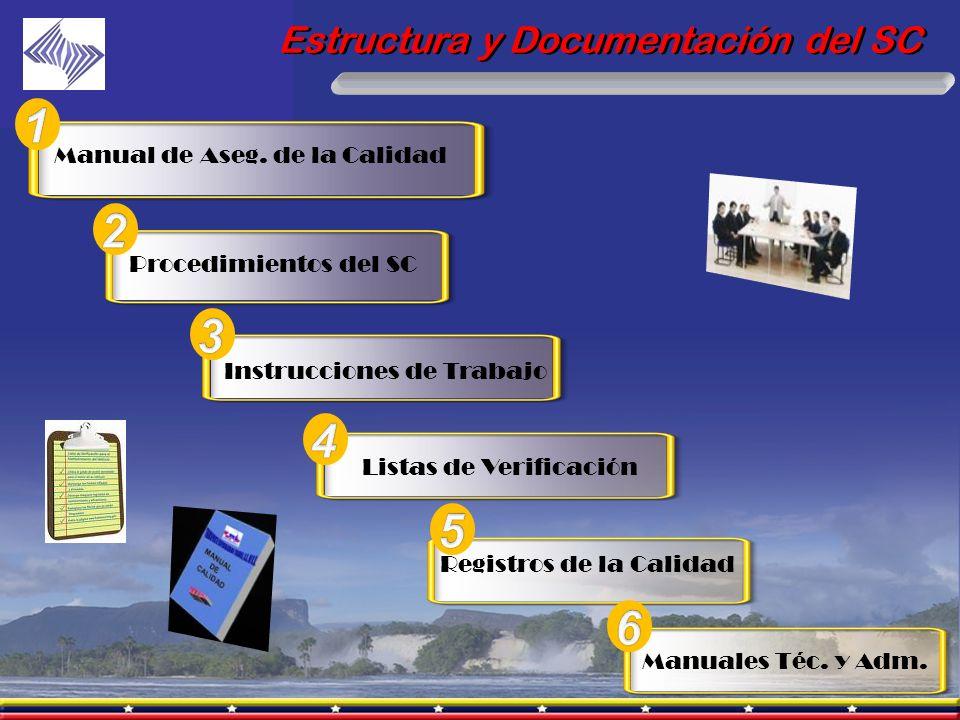 Estructura y Documentación del SC Manual de Aseg. de la Calidad Procedimientos del SC Instrucciones de Trabajo Listas de Verificación Registros de la