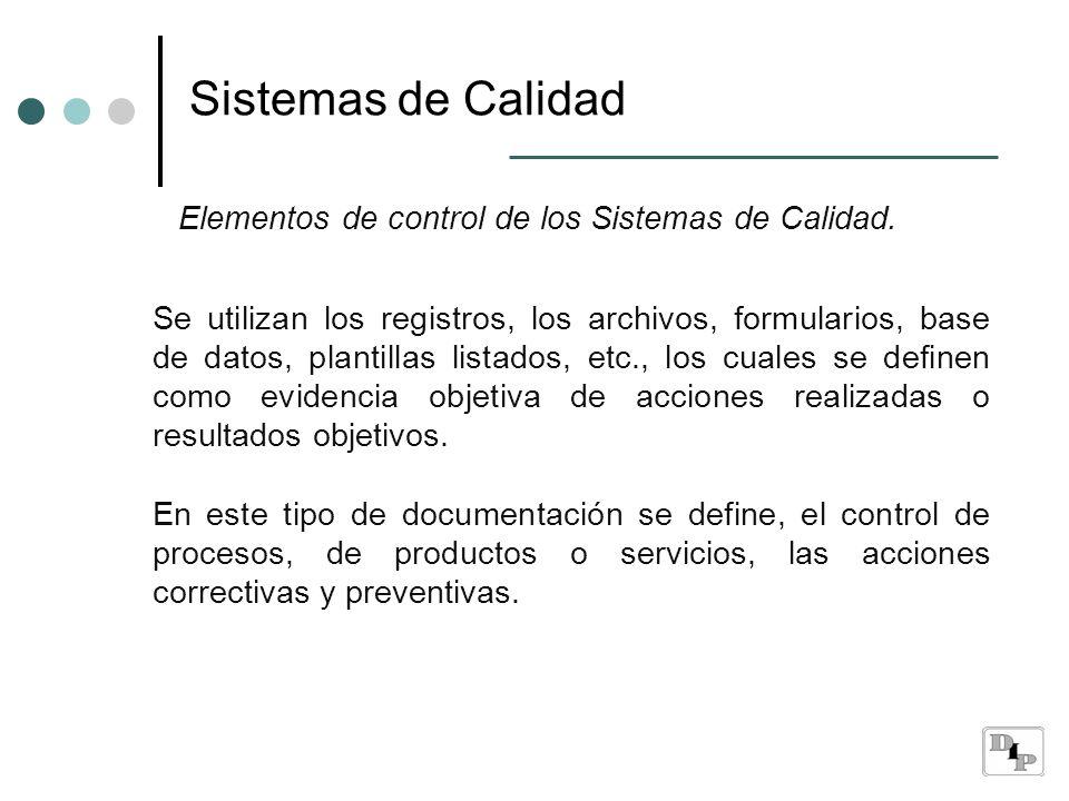 Sistemas de Calidad Elementos de control de los Sistemas de Calidad. Se utilizan los registros, los archivos, formularios, base de datos, plantillas l