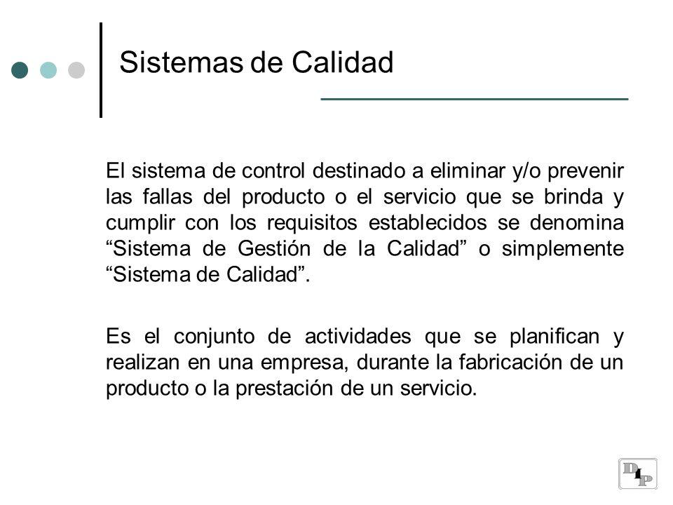 Sistemas de Calidad El sistema de control destinado a eliminar y/o prevenir las fallas del producto o el servicio que se brinda y cumplir con los requ