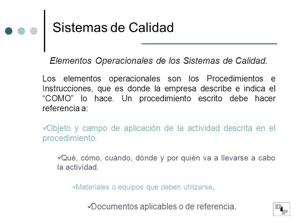 Sistemas de Calidad Elementos Operacionales de los Sistemas de Calidad. Los elementos operacionales son los Procedimientos e Instrucciones, que es don
