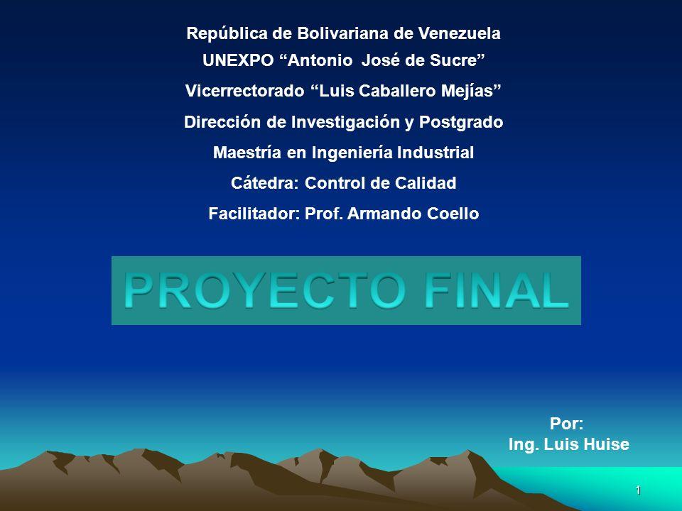 1 República de Bolivariana de Venezuela UNEXPO Antonio José de Sucre Vicerrectorado Luis Caballero Mejías Dirección de Investigación y Postgrado Maest