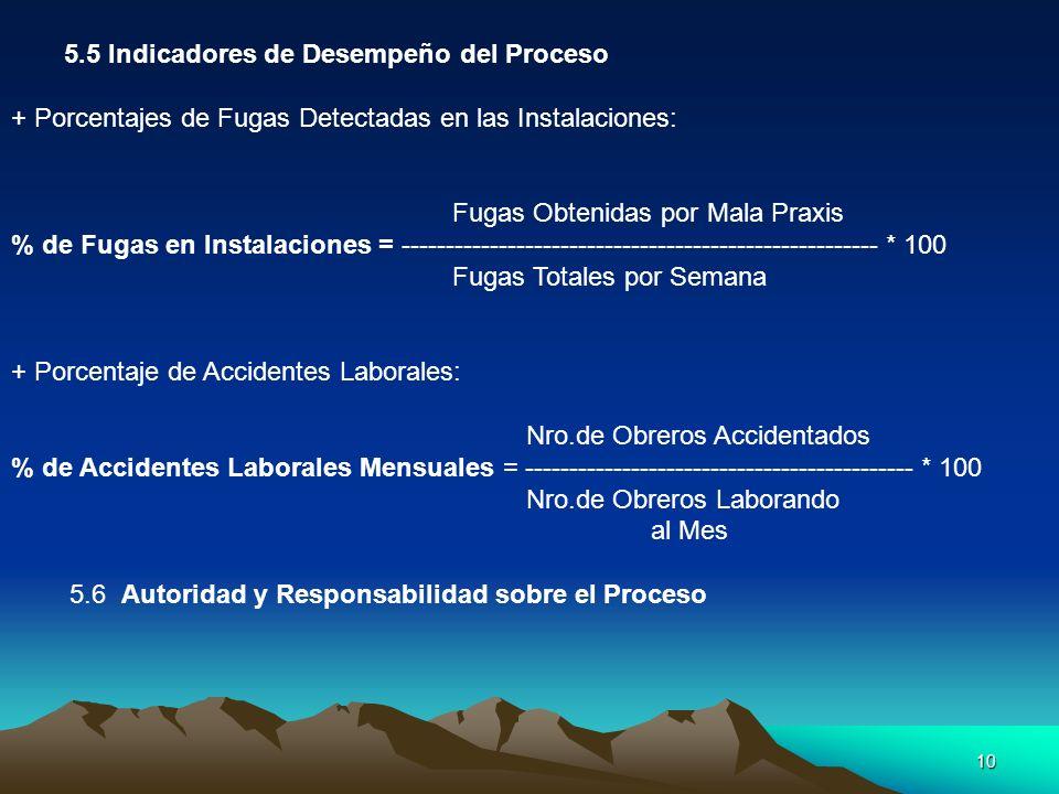 10 5.5 Indicadores de Desempeño del Proceso + Porcentajes de Fugas Detectadas en las Instalaciones: Fugas Obtenidas por Mala Praxis % de Fugas en Inst