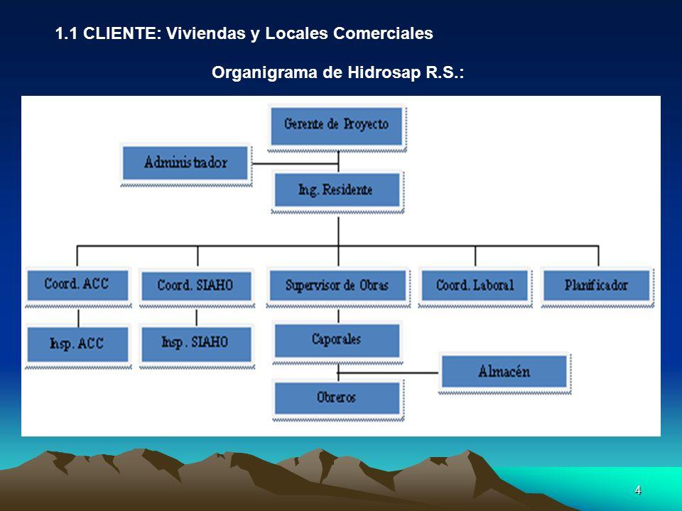 4 1.1 CLIENTE: Viviendas y Locales Comerciales Organigrama de Hidrosap R.S.: