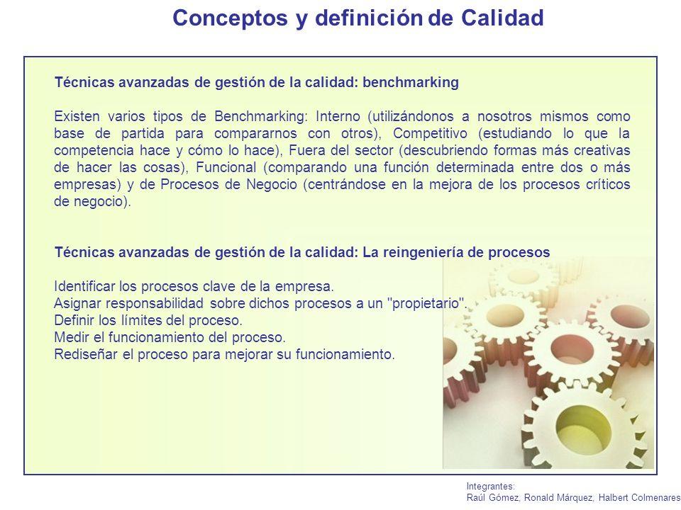 Integrantes: Raúl Gómez, Ronald Márquez, Halbert Colmenares Técnicas avanzadas de gestión de la calidad: benchmarking Existen varios tipos de Benchmar