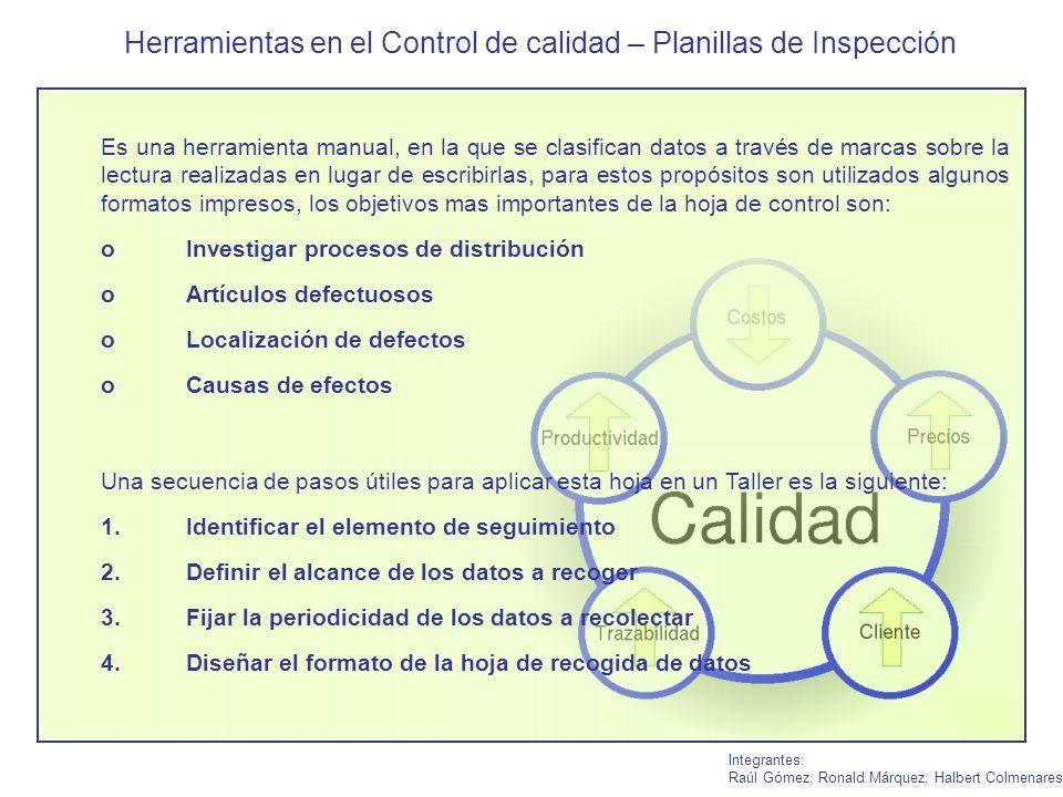 Herramientas en el Control de calidad – Planillas de Inspección Integrantes: Raúl Gómez, Ronald Márquez, Halbert Colmenares Es una herramienta manual,