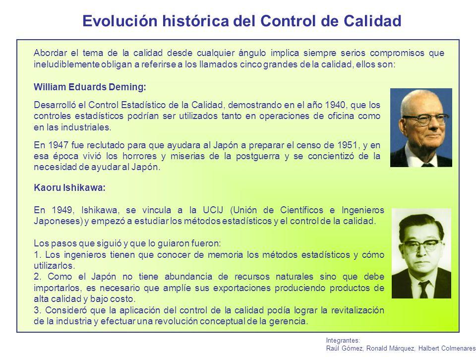 Evolución histórica del Control de Calidad Integrantes: Raúl Gómez, Ronald Márquez, Halbert Colmenares Abordar el tema de la calidad desde cualquier á