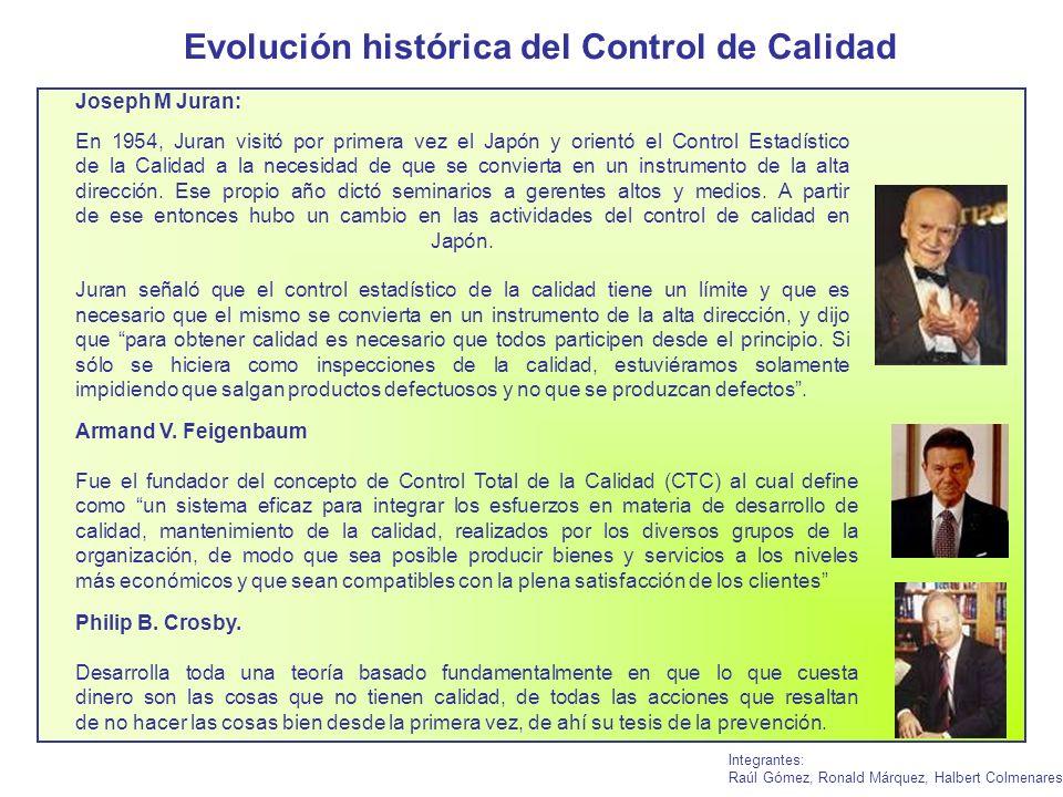 Evolución histórica del Control de Calidad Integrantes: Raúl Gómez, Ronald Márquez, Halbert Colmenares Joseph M Juran: En 1954, Juran visitó por prime