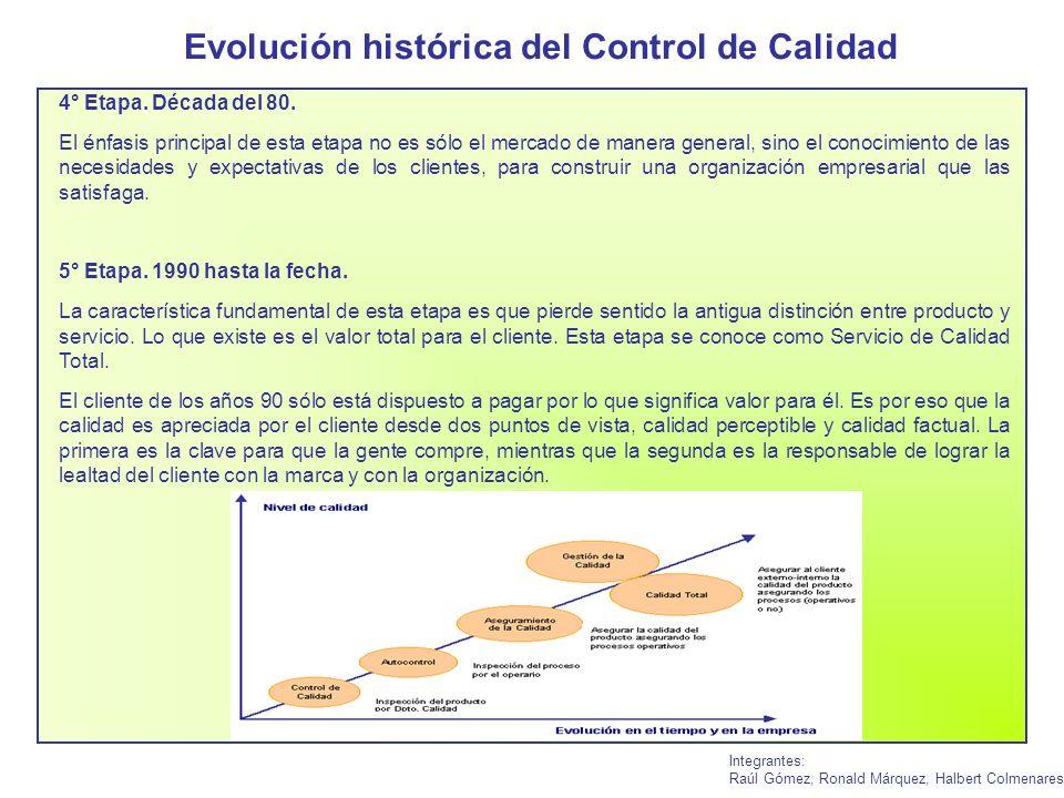 Evolución histórica del Control de Calidad Integrantes: Raúl Gómez, Ronald Márquez, Halbert Colmenares 4° Etapa. Década del 80. El énfasis principal d