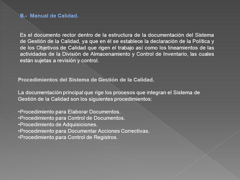 B.- Manual de Calidad. Es el documento rector dentro de la estructura de la documentación del Sistema de Gestión de la Calidad, ya que en él se establ