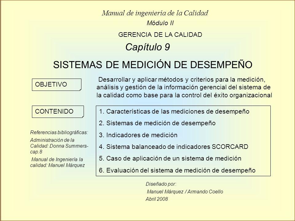 Diseñado por: Manuel Márquez / Armando Coello Abril 2008 Módulo II GERENCIA DE LA CALIDAD Manual de ingeniería de la Calidad Capítulo 9 SISTEMAS DE ME
