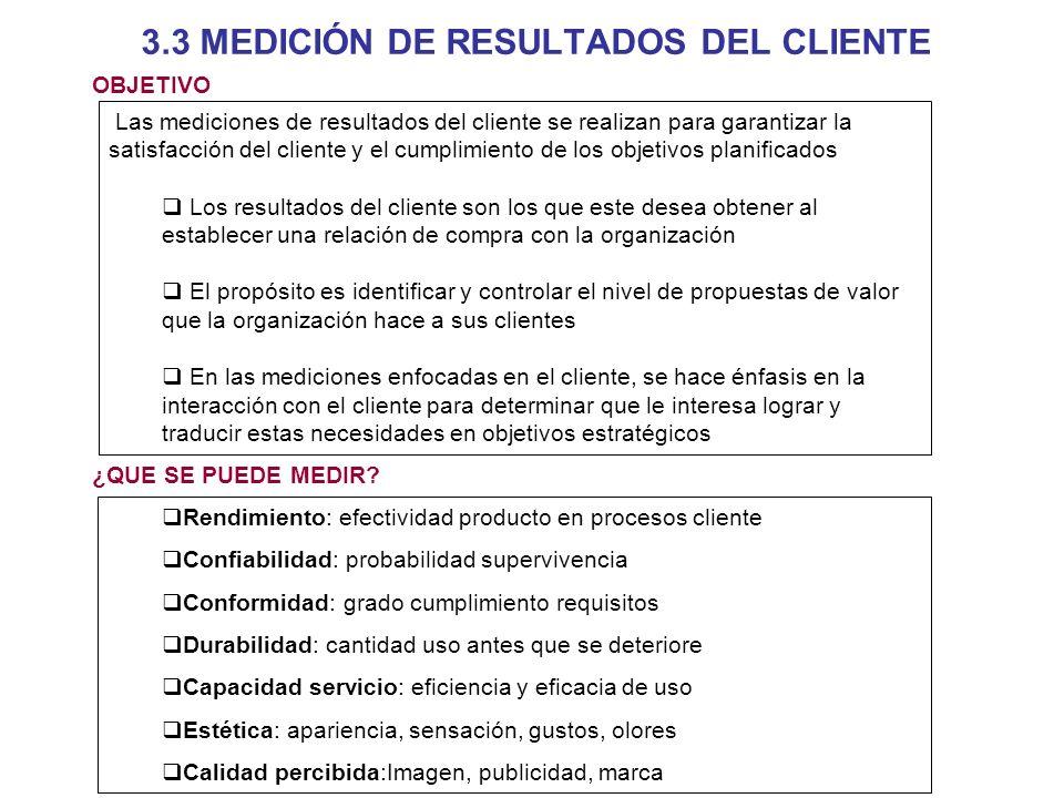3.3 MEDICIÓN DE RESULTADOS DEL CLIENTE Las mediciones de resultados del cliente se realizan para garantizar la satisfacción del cliente y el cumplimie