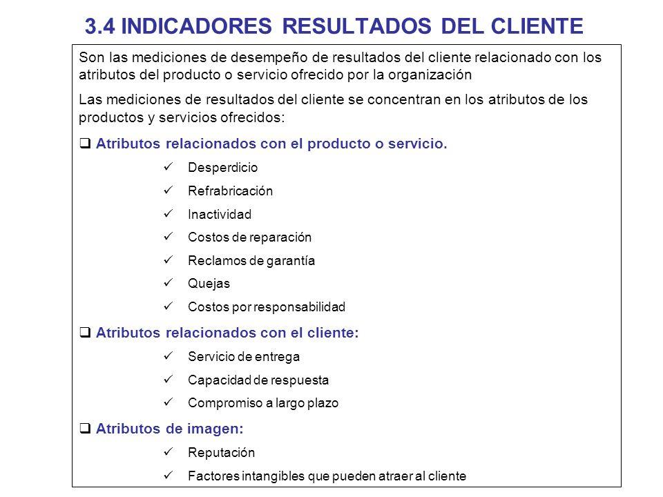 3.4 INDICADORES RESULTADOS DEL CLIENTE Son las mediciones de desempeño de resultados del cliente relacionado con los atributos del producto o servicio